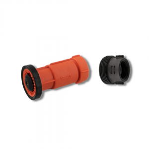 Nozzle for 1.0 Hose, 1.5″ NH thread, Scotty Fire, Barrel Twist On/Off, 15 to 50 GPM, Poly, with Adapter